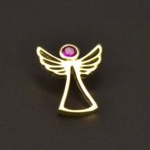 Zlatý přívěsek anděl s rubínem 6642