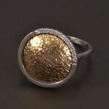 Zlatý prsten bílé a červené zlato 6644
