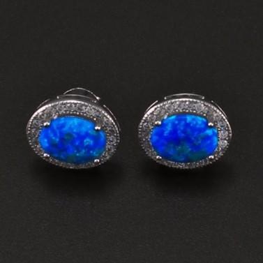 Stříbrné náušnice s modrým opálem 6707 č.1