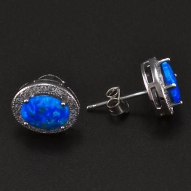 Stříbrné náušnice s modrým opálem 6707 č.2