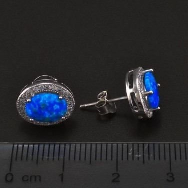 Stříbrné náušnice s modrým opálem 6707 č.3