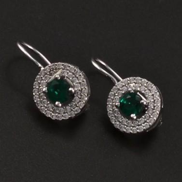 Stříbrné náušnice smaragd a zirkon 6757 č.1