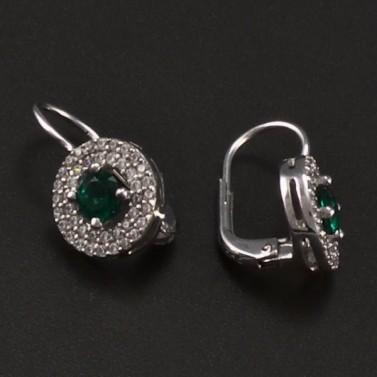 Stříbrné náušnice smaragd a zirkon 6757 č.2