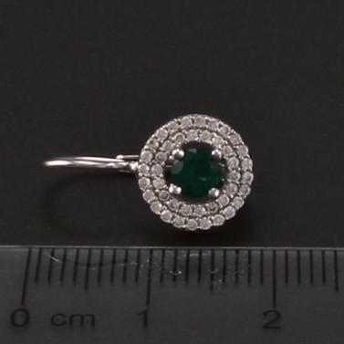 Stříbrné náušnice smaragd a zirkon 6757 č.3