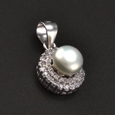 Stříbrný přívěsek s perlou a zirkony 6773 č.1