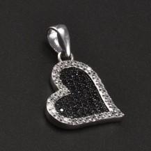 Přívěsek stříbrné srdce se zirkony 6780