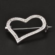 Stříbrná brož tvar srdce 6788