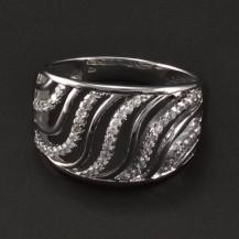 Stříbrný rhodiovaný prsten se zirkony 6792