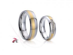 Ocelové snubní prsteny matné zlacení 6865