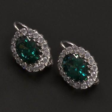 Zlaté náušnice se smaragdem oválný tvar 6913 č.1