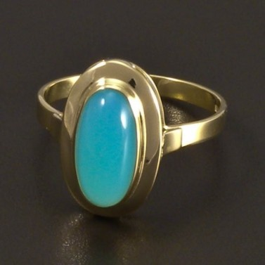 Zlatý prsten tyrkysový achát 6992 č.1