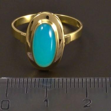 Zlatý prsten tyrkysový achát 6992 č.2