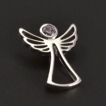 Stříbrný přívěsek anděl růžový zirkon 7022