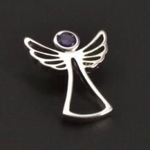 Stříbrný přívěsek anděl s ametystem 7023
