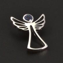 Stříbrný přívěsek anděl s akvamarínem 7024