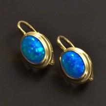 Zlaté náušnice s oválným modrým opálem 7034