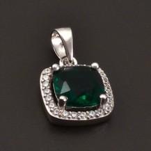 Stříbrný přívěs smaragd 7157
