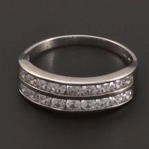 Zlatý prsten se zirkony ve dvou řadách 7188