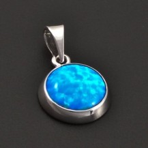 Stříbrný přívěs s modrým opálem 7205