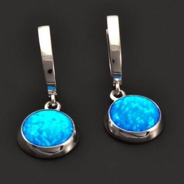 Opálové stříbrné náušnice modré 7206 č.1
