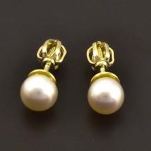 Zlaté náušnice s perlou 7208