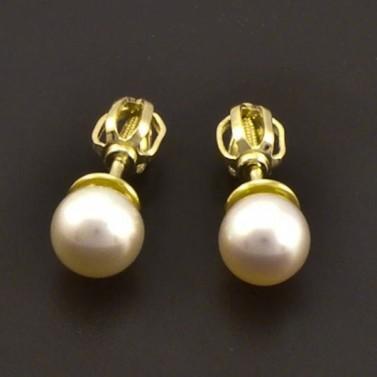 Zlaté náušnice s perlou 7208 č.1