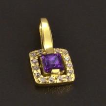 Zlatý přívěs s fialovým zirkonem 7355