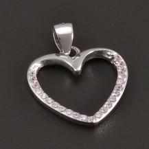 Stříbrný přívěs srdce s růžovými zirkony 7442