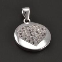 Stříbrná destička se zirkonovým srdcem 7542