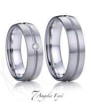 Stříbrné snubní prsteny s briliantem 033 Živago a Lara
