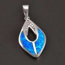 Stříbrný přívěs s modrým opalitem a bílými zirkony 7587