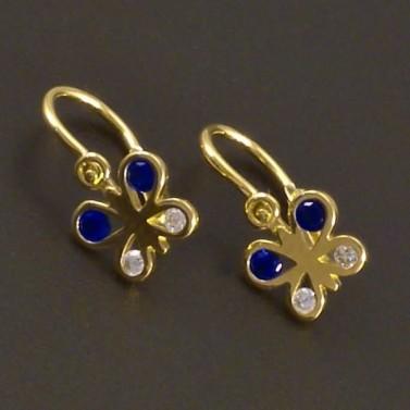 Náušnice motýlci s modrými kameny 7675 č.1