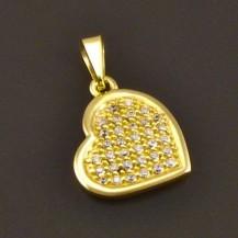 Zlatý přívěs srdce se zirkony 7735