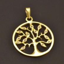 Moderní zlatý přívěs strom života 7739