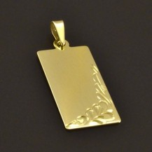 Zlatý přívěšek destička s rytinou 7744