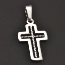 Kříž z bílého zlata 7752