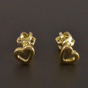 Zlaté náušnice ve tvaru srdíčka 7759 č.1