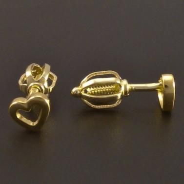 Zlaté náušnice ve tvaru srdíčka 7759 č.2
