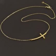 Zlatý řetízek s křížkem naležato 7800