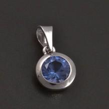 Stříbrný přívěs s kulatým modrým zirkonem 7878