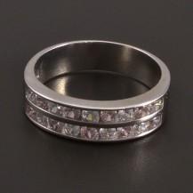 Stříbrný prsten s růžovými a bílými zirkony 7900