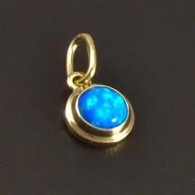 Malý kulatý přívěsek s modrým opálem 7902