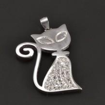 Přívěšek stříbrná kočka 7936