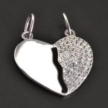 Partnerský stříbrný přívěšek srdce 7937