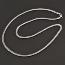 Stříbrný náhrdelník plochý had 7956