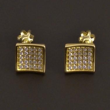 Čtvercové zlaté náušnice na šroubky 7981 č.1