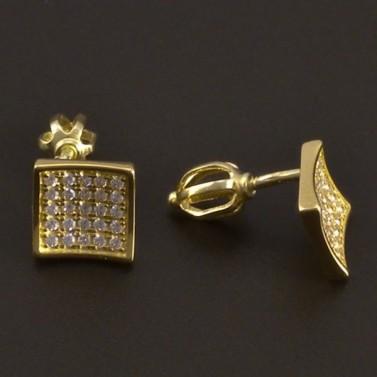 Čtvercové zlaté náušnice na šroubky 7981 č.2