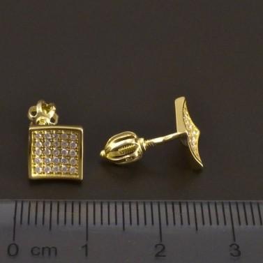 Čtvercové zlaté náušnice na šroubky 7981 č.3