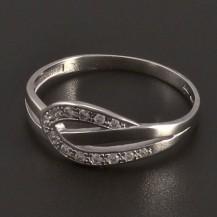 Prsten s drobnými zirkony bílé zlato 8010