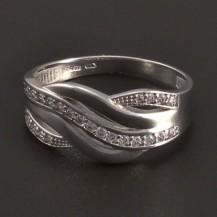 Moderní prsten z bílého zlata 8011